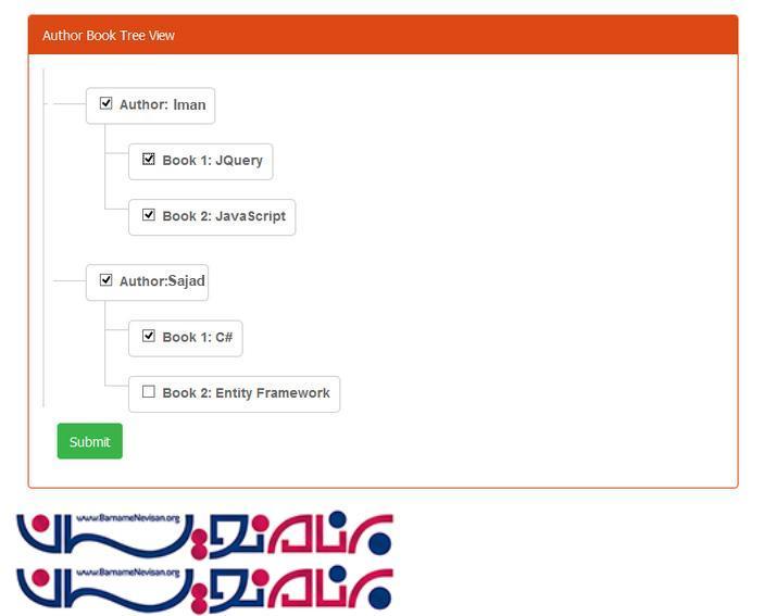 ایجاد TreeView با Bootstrap در Asp net MVC